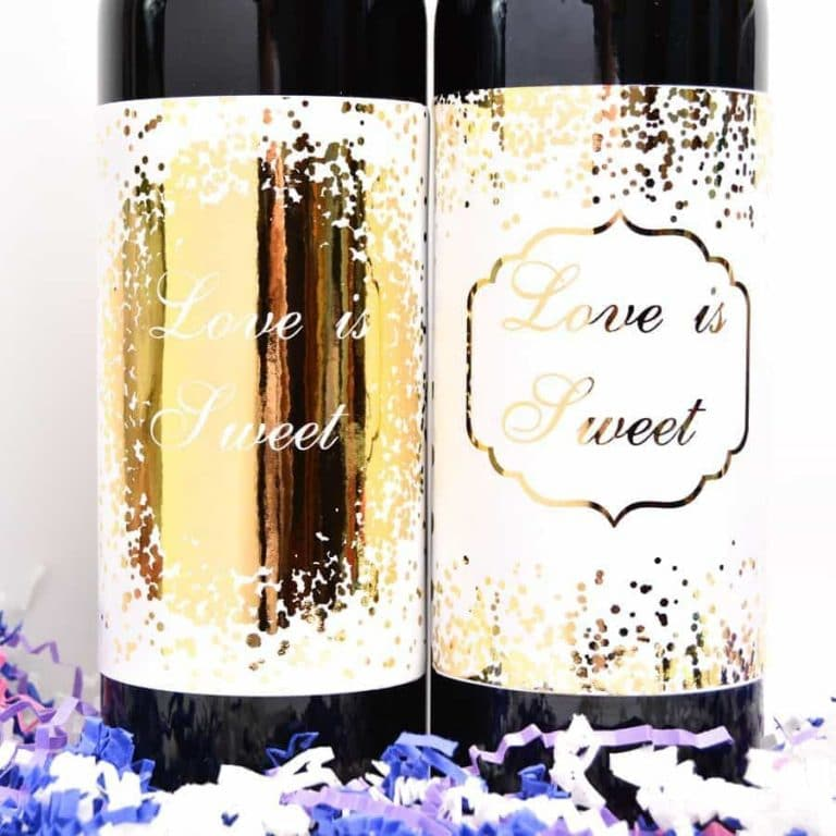 Wedding Wine Labels.4 Gold Foiled Wedding Wine Labels Wine Bottle Labels Birthday Wine Labels