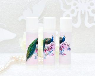 peacock pink wedding labels