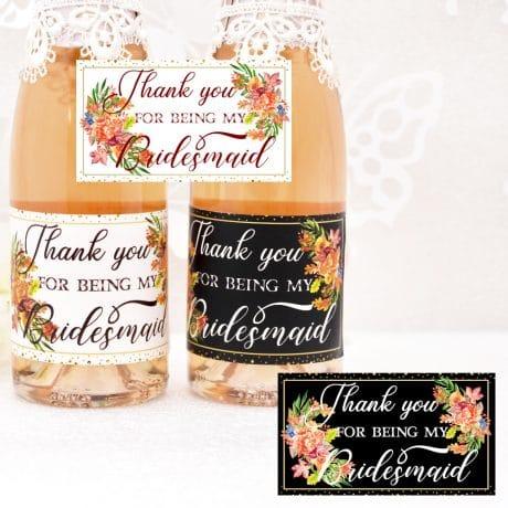 thank you bridesmaid wine label