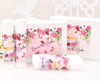 Hot Pink Floral Lip Balm Labels