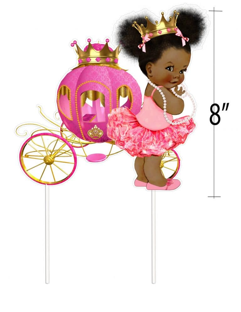 Pink African American Princess Birthday Table Decor Or Cake