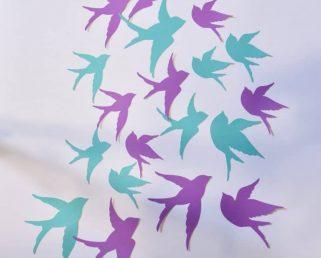 19 Bird Wall Decor, Aqua Purple Wall Art, Bird Wall Stickers