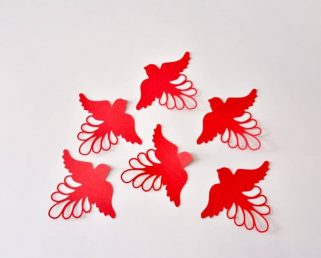 15 Bird Wall Decals, 3D Red Bird Wall Stickers for Room, Bird Wall Decor
