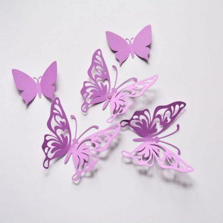 Purple Butterfly Wall Decor, Birthday Paper Butterflies, 3D Paper Butterflies