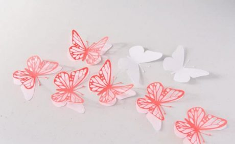 3D Butterfly Wall Decor, Set of 14 Red White Paper Butterflies, Butterfly Wall Decals