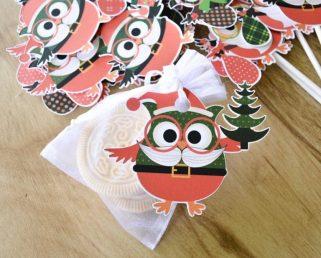 Christmas Owl Tags, Christmas Owl Party Favor Tags, Christmas Party Supplies
