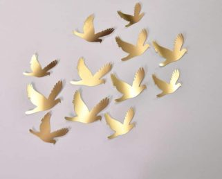 20 Wedding Gold Birds, Gold Birds Wall Stickers, Birds Decoration,