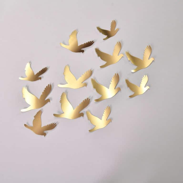20 Wedding Gold Birds, Gold Birds Wall Stickers, Birds Decoration