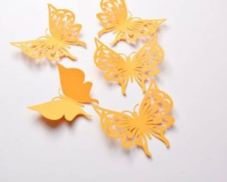 12 Party Butterfly Stickers, Butterfly Wall Decor, Paper Butterfly, Butterfly Decal