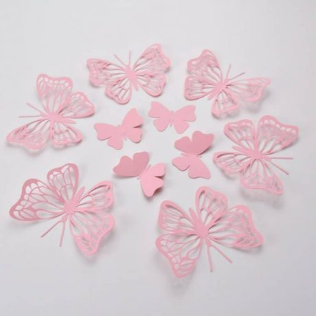 20 BabyPink Butterfly Wall Stickers, Large Birthday Party Butterflies