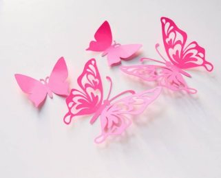 19 Paper Butterflies, Butterfly Wall Stickers, 3d Wall Decals Butterflies