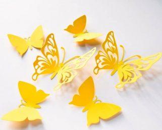 Paper Butterflies Wall Art, Yellow Large Paper Butterflies, 3D Paper Butterflies