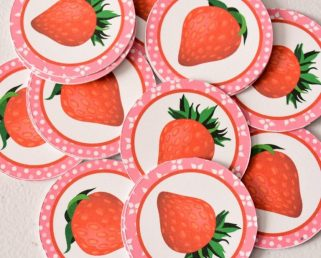 12 Strawberries Tags, Fruits Tags, Strawberry Girl Birthday Party, Strawberry Decoration
