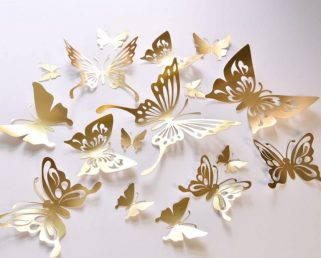 16 Gold Butterfly Wall Decals, Gold Butterfly Wedding Decoration