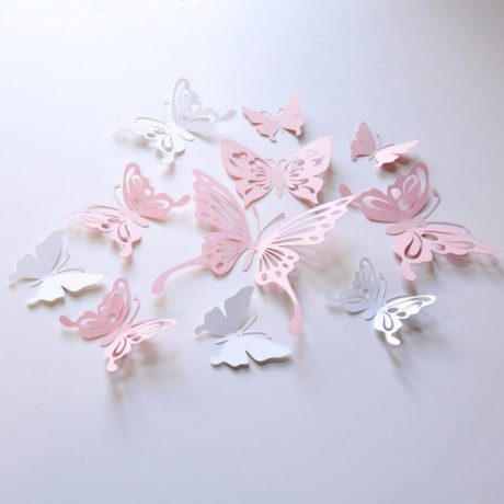 16 Baby Pink Paper Butterflies, Pink and White Butterfly Wall Stickers