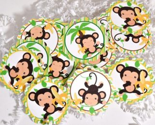 Monkey Tags, Monkey Party Favor Tags, Monkey Baby Shower Supplies