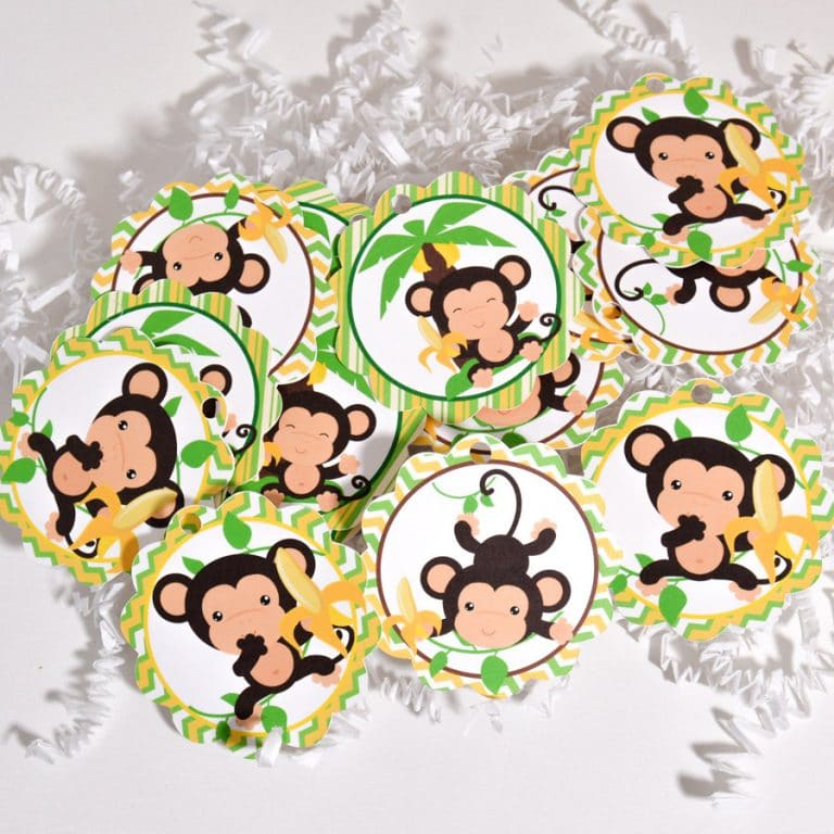24 Monkey Tags Monkey Party Favor Tags Monkey Baby Shower Supplies