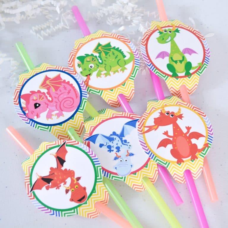 Dragon Straw Tags Dragon Party Supplies Dragon Baby Shower Dragon
