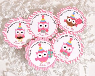 Owl Thank You Tags, Pink Owl Party Tags, Owl Party Supplies
