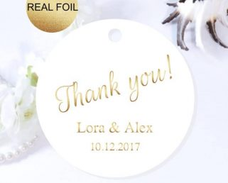 Custom Foil Wedding Tags, Gold Foil Round Thank You Tags