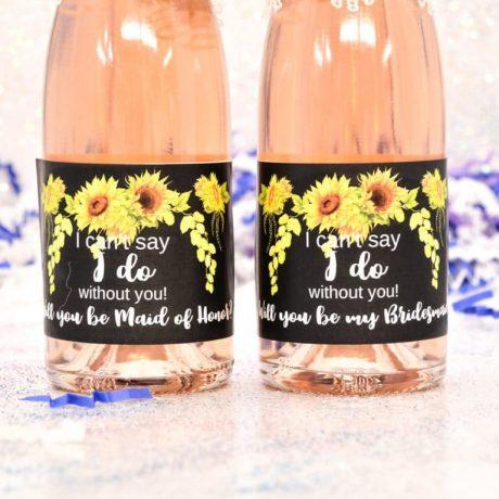 8 Wine Labels Bridesmaid, Sunflower Mini Wine Labels, Bridesmaid Labels, Floral Will you Be My Bridesmaid Honor Stickers