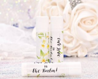 30 Lily Wedding Stickers, Personalized Lily Lip Balm Labels, Lilies Wedding Labels