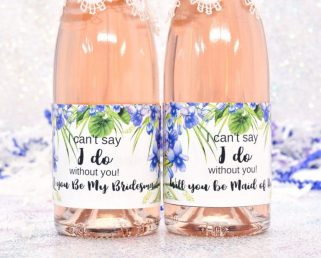 Personalized Mini Champagne Labels, Purple Violet Wine Bottle Stickers, Wine Labels Bridesmaid, Purple Favor