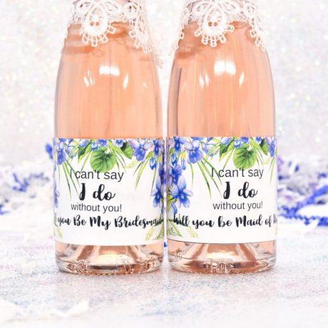 Personalized Mini Champagne Labels, Purple Violet Wine Bottle Stickers, Wine Labels Bridesmaid, Purple Favor
