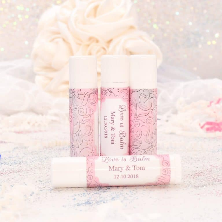 30 pink and gray wedding chapstick labels lip balm party favor stickers