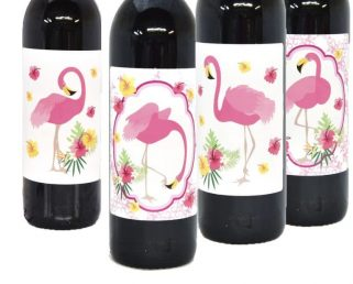 4 Flamingo Wine Labels, Flamingo Party Favor Stickers, Flamingo Wine Bottle Stickers