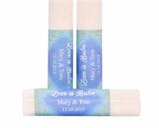 30 Personalized Wedding Chapstick Labels, Aqua and Blue Wedding Favor Stickers