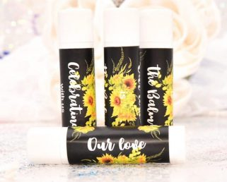 30 Sunflower Lip Balm Stickers, Personalized Lip Balm Labels