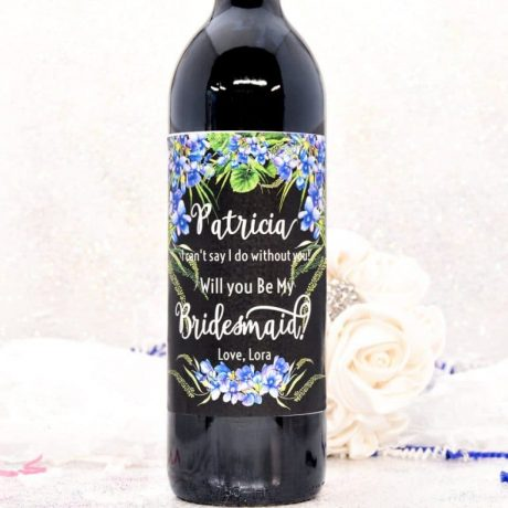 Violet Wine Labels Bridesmaid, Bridesmaid Labels, Floral Will you Be My Bridesmaid Honor Stickers