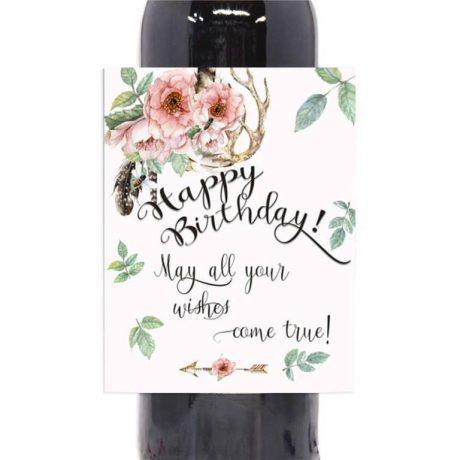 4 Boho Wine Labels, Happy Birthday Wine Labels, Rustic Wine Stickers