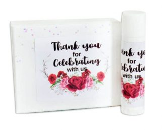 red floral lip balm labels