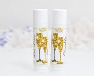 30 Champagne Party Lip Balm Labels, Wedding Champagne Stickers