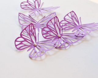 Purple Butterflies, Large Butterflies Wall Decor, 3D Paper Butterflies