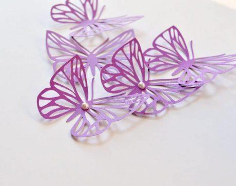 Purple Butterflies, Large Butterflies Wall Decor, 3D Paper Butterflies