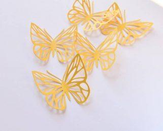 16 Yellow Butterflies Wall Art, Large Paper Butterflies, 3D Paper Butterflies