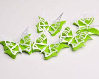 White and Green Wall Art Butterflies, 3D Paper Butterflies, Butterfly Decoration