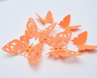 Orange Wall Art Butterflies, Butterfly Wall Stickers, Fall Butterfly Party Decoration