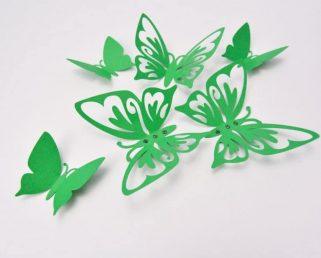 Green Wall Decor Butterflies, Wall Art Butterflies, 3D Paper Butterflies