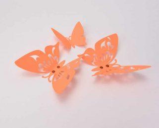 Orange 3D Butterflies Wall Decor, Butterfly Home Decorations