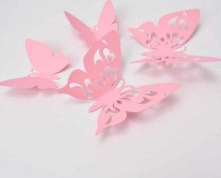 Pink Paper Butterflies Party, Paper Butterfly Wall, 3D Paper Butterflies Sticers