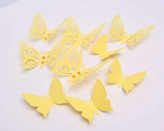 3D Butterfly Wall Decor, Pastel Yellow Paper Butterflies, Wall Butterfly