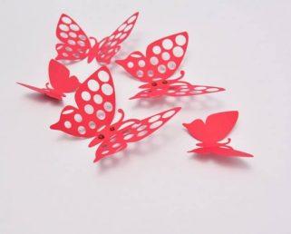 3D Wall Butterflies, 3D Butterfly Wall Art, Red Butterfly Wall Stickers