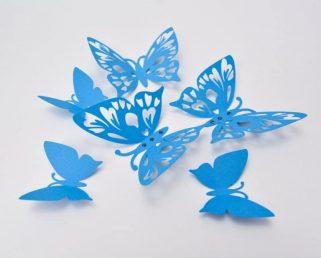 Blue Butterfly Wall Art, 3D Butterfly Wall Decor, Paper Butterflies