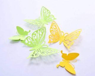 3D Wall Sticker Butterfly, Green Yellow Butterfly Art Wall