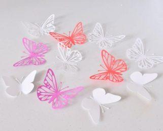 3D Wall Art, Lilas Red White Paper Butterflies, Butterfly Wall Stickers, Butterfly Party