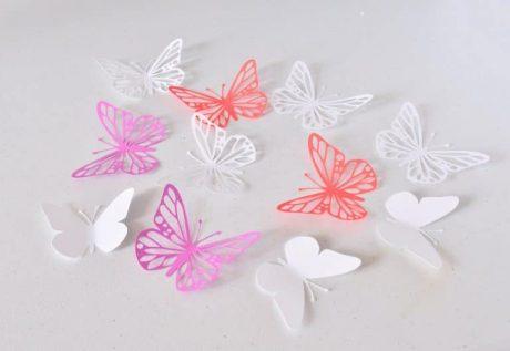 3D Wall Art, Lilas Red White Paper Butterflies, Butterfly Wall Decor ...